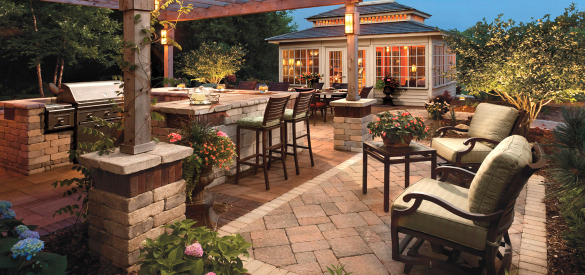 outdoor living installation, pavers,grill,patio furniture
