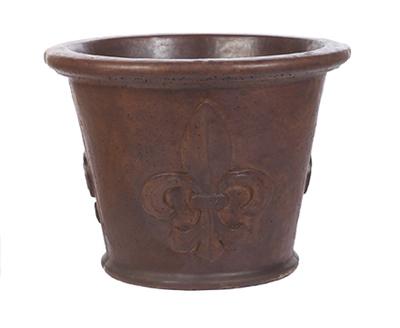 Lg Plain Rim Fleur De Leis Pot