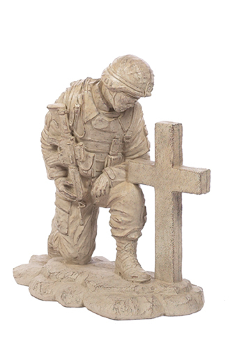 Kneeling Soldier at Cross